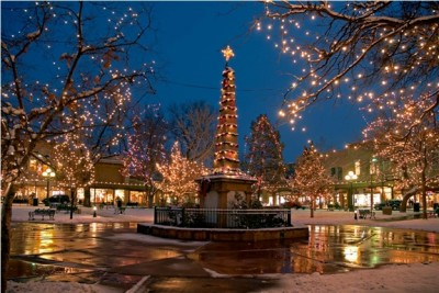 Santa Fe Plaza. Tree lighting is the day after Thanksgiving, so don't miss it!